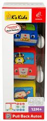 K´s Kids Krabice 3ks - látková auta s natahovacím pohonem