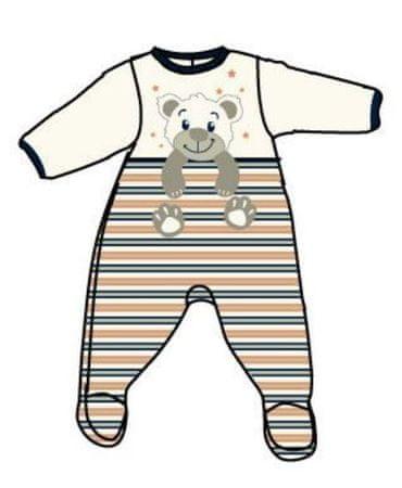 Carodel fantovski bodi z motivom medveda, 62, belo oranžen