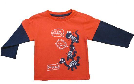 Carodel chlapecké tričko s dinosaury 62 modrá/oranžová