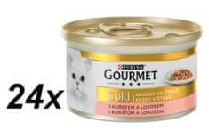 Gourmet Gold mokra karma dla kota delikatne kawałki Łosoś i Kurczak - 24 x 85 g