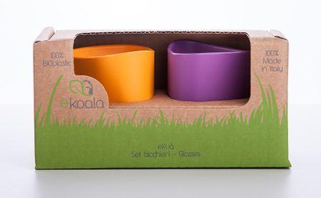 eKoala eKua BIO plast set 2 kalíšek, oranžová/fialová