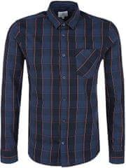 Q/S designed by Pánska modrá kockovaná košeľa extra slim fit