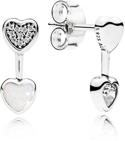 Pandora Aszimmetrikus szerelmes fülbevalók 290750CZ ezüst 925/1000