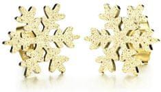 Troli Błyszczące złoto pozłacane Kolczyki Śnieżynka KE-013