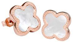 Troli Ružovo pozlátené oceľové náušnice kvetinky s perleťovým stredom KE-006