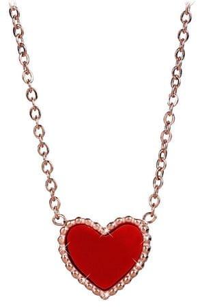 4c384ebab Troli Bronzový náhrdelník s oboustranným srdíčkem (černá/červená ...