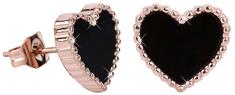 Troli Bronzové srdiečkové náušnice s čiernym stredom