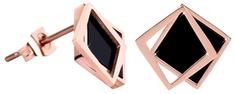 Troli Bronzové náušnice v tvare dvojitého štvorca - čierne