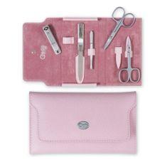 Credo Solingen Luksusowy 5-częściowy różowy manicure w skórzanym etui Palmelato Rose 5