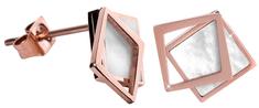 Troli Bronzové náušnice v tvare dvojitého štvorca - perleťové