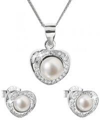Evolution Group Luksuzni srebrni komplet s pravimi biseri Pavona 29025.1 (uhani, veriga, obesek) srebro 925/1000