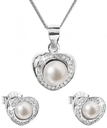 Evolution Group Luksusowy srebrny zestaw z prawdziwymi perłami Pavon 29025.1 srebro 925/1000