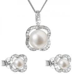 Evolution Group Luksuzen srebrni komplet s pravimi biseri Pavona 29024.1 (uhani, veriga, obesek) srebro 925/1000