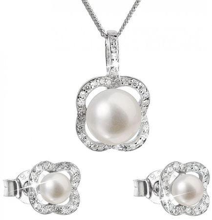 Evolution Group Luksusowy srebrny zestaw z prawdziwymi perłami Pavon 29024.1 srebro 925/1000