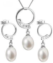 Evolution Group Luksuzen srebrni komplet s pravimi biseri Pavona 29030.1 (uhani, veriga, obesek) srebro 925/1000