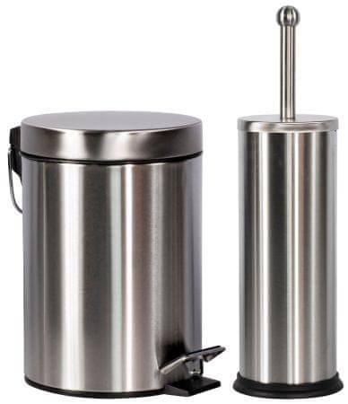 TimeLife Szemeteskosár 3 l & WC-kefe rozsdamentes acél
