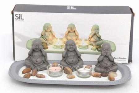 Sifcon Svícen tři Buddhové 35x14 cm