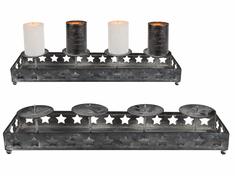 TORO Svietnik Antique na 4 sviečky, 40 × 10 cm, kov