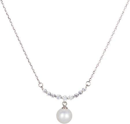 JwL Luxury Pearls Srebrna ogrlica s pravim biserom JL0440 (veriga, obesek) srebro 925/1000