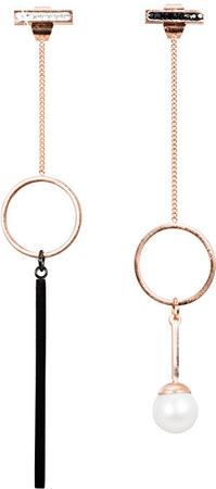JwL Luxury Pearls Bronz aszimmetrikus fülbevaló JL0484CH gyöngyökkel