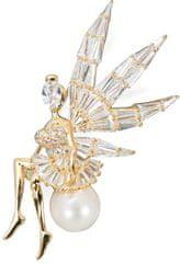 JwL Luxury Pearls Luxusní třpytivá brož anděl/víla s pravou perlou JL0448