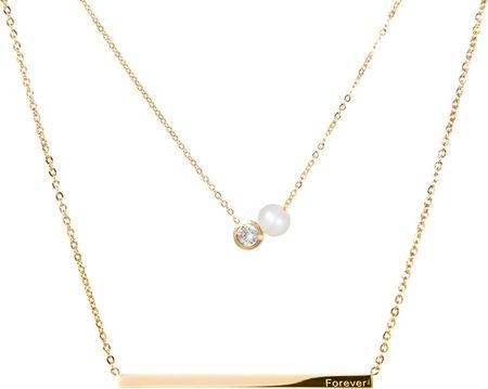 JwL Luxury Pearls Ogrlica iz laminiranega jekla s pravim biserom in kristalom JL0479CH