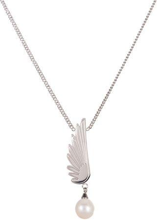 JwL Luxury Pearls Jeklena ogrlica s pravim bisernim angelskim krilom JL0467CH