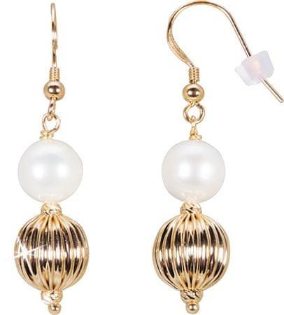 JwL Luxury Pearls Pozlačeni uhani s pravim biserom JL0441 srebro 925/1000