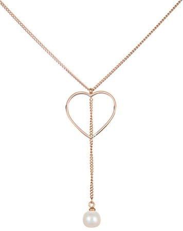 JwL Luxury Pearls Jeklena ogrlica s srcem in pravim biserom JL0472CH