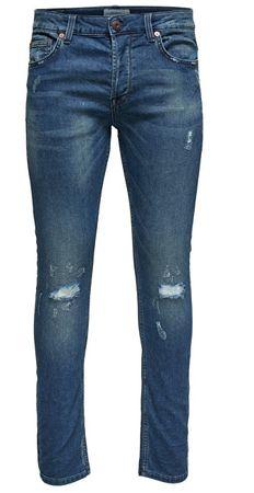 ONLY&SONS Pánské džíny Spun Jog Damage PK 0901 Blue Denim (Velikost 34)