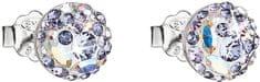 Evolution Group Bež uhani s kristali Violet 31136.3 srebro 925/1000