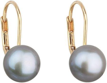 f482c63b6 Zlaté visiace náušnice s pravými perlami Pavona 921009.3 grey žlté zlato  585/1000 ...