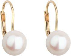 Evolution Group Arany függő fülbevaló valódi gyöngyökkel Pavon 921009.1 sárga arany 585/1000