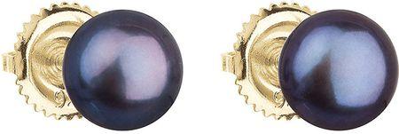Evolution Group Pozlačeni uhani z originalnimi biseri Pavona 921004.3 pav rumeno zlato 585/1000