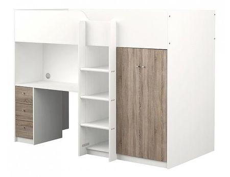Multifunkční patrová postel Lyon, bílá-dub truffle