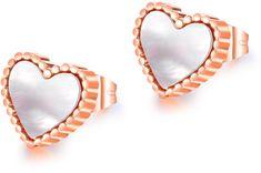 Troli Bronzové srdiečkové náušnice s perleťovým stredom
