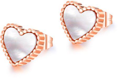 Troli Bronasti uhani iz srca z bisernim središčem