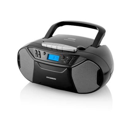 Hyundai TRC 333 AU3 BT rádiómagnó 2× 1 W teljesítménnyel, kazetta és CD mechanikával