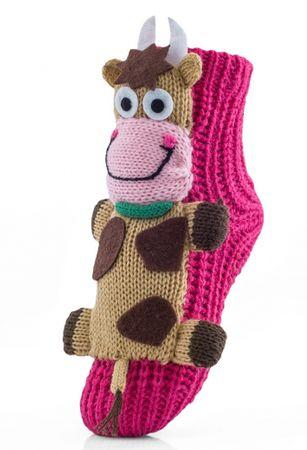 Attractive dievčenské ponožky s kravičkou 27 - 30 ružová