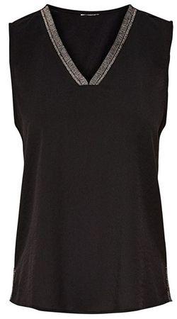 ONLY Koszulka damska Sharon S / L z dekoltem w serek Black (rozmiar 34)