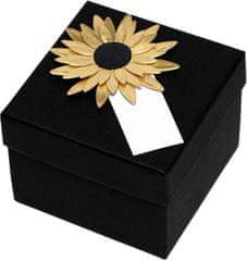 Giftisimo Luxus ajándékdoboz arany színű napraforgóval díszítve