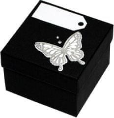 Giftisimo Luxus ajándékdoboz ezüst színű pillangóval díszítve