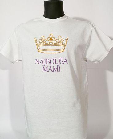 Gildan vezena majica Najboljša mami, M, bela