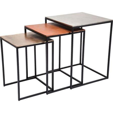 KARE Odkládací stolek Loft Square Vintage (3/Set)