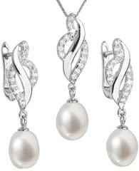 Evolution Group Luxusná strieborná súprava s pravými perlami Pavona 29021.1 (náušnice, retiazka, prívesok) striebro 925/1000