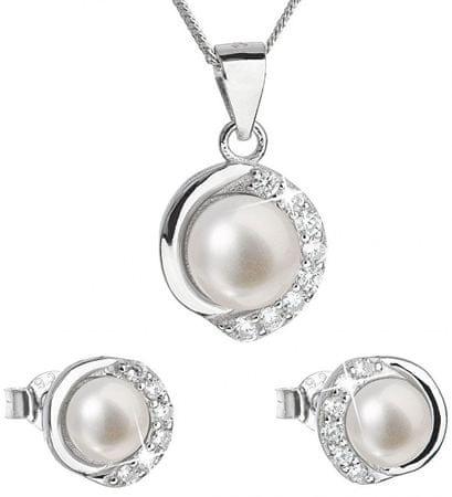 Evolution Group Luksuzen srebrni komplet s pravimi biseri Pavona 29022.1 (uhani, veriga, obesek) srebro 925/1000