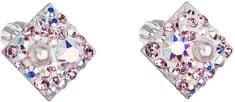 Evolution Group Čtvercové náušnice s krystaly 31169.9 lt.rose stříbro 925/1000