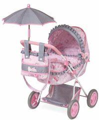 DeCuevas Hluboký kočárek pro panenky s deštníkem - rozbaleno