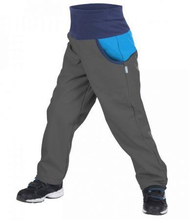 Unuo Chlapecké softshellové kalhoty DUO New 98/104 antracitové s tyrkysovou