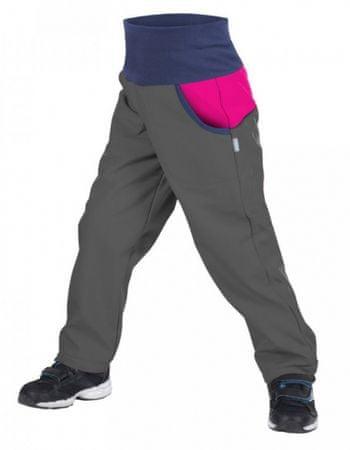 Unuo Dívčí softshellové kalhoty DUO s fleecem 116/122 šedé